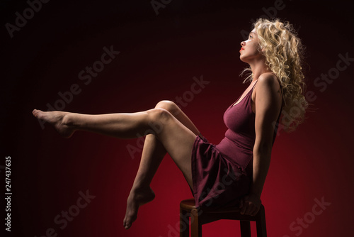 Fotografie, Obraz  Beautiful woman with blonde long curly hair