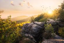 Sächsische Schweiz Im Morgenlicht (Sonnenaufgang Auf Dem Gohrisch)