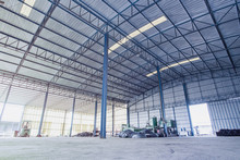 Factory Building Or Warehouse Building With Concrete Floor For Background