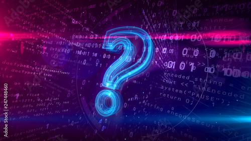 Fotografia  Question mark sign on digital background