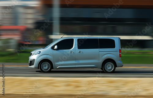 minibus in motion