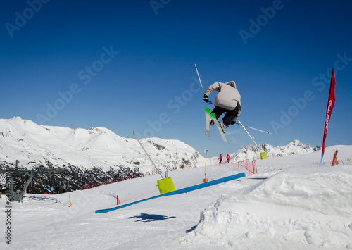 Ski jump in Pas de la Casa, Grandvalira, Andorra. Extrema winter sports