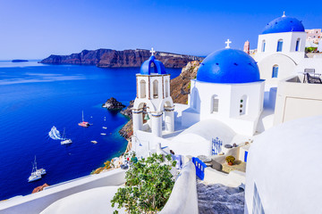 Oia, Santorini, Greece - Blue church and caldera