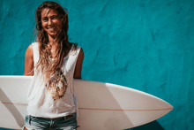 Happy Surfer Girl With Surfboa...