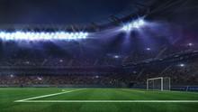 Grand Football Stadium Illuminated By Spotlights And Empty Green Grass Field, Football Stadium Sport Theme Digital 3D Background Advertisement Illustration My Own Design