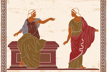 Two Ancient Greek Women In A Tunics Near A Stone Pedestal. Vector Image On Old Beige Background.