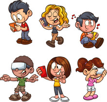 Cartoon Kids Using Smartphones Clip Art. Vector Illustration With Simple Gradients. Each On A Separate Layer.