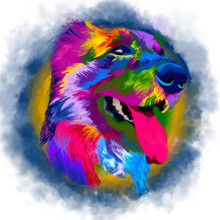 Watercolor  Animal Icon. Colorful Dog Muzzle. The Dog On A Color Background.