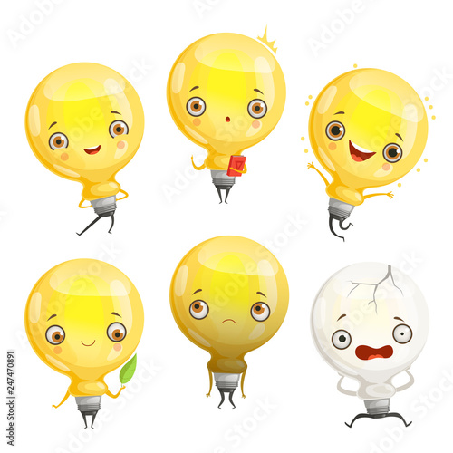 Bulb Characters Cartoon Lamp Mascot In Dynamic Poses And Fun Emotions Vector Picture Light Lamp Cartoon Happy Idea Smile Illustration Buy This Stock Vector And Explore Similar Vectors At Adobe Stock