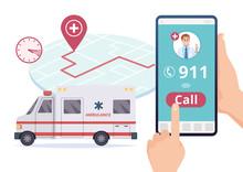 Ambulance Service. Urgent 911 Hospital Emergency Call Vector Concept. Illustration Of Emergency 911 Telephone Assistance