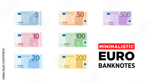 Fotomural Euro money banknotes of Europe, flat and minimalistic paper money - vector one s
