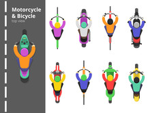Bike Bicycles Top. Overhead Topping View Motorbike Fast Driving Young Male Driver Vector Flat Pictures. Illustration Of Motorcycle Fast, Scooter Drive