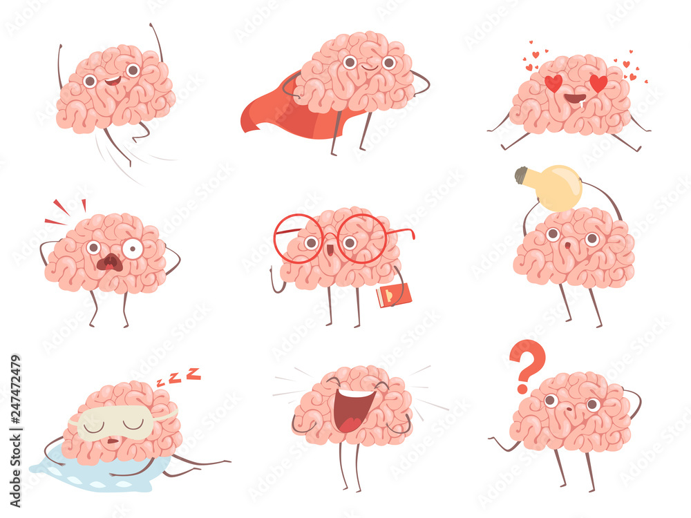 Fototapeta Brain characters. Cartoon mascot making different sport exercises brain activities vector pictures. Illustration of brain mascot, think and funny