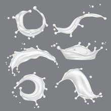Milk Splashes. White Drop Liqu...