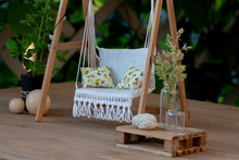 Dollhouse Garden Swing With Wh...