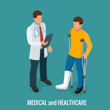 Fracture Of The Leg, Sprain Or Tearing Of The Leg Ligaments.Rehabilitation After Trauma. Orthopedics And Medicine. Isometric Vector Illustration
