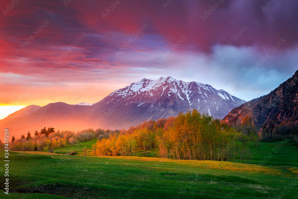 Fototapety, obrazy: Spring sunset in the Wasatch Mountains, Utah, USA.