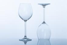Empty Wine Glasses On White Background