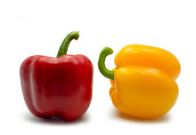 Yellow And Red Sweet Bell Pepper On White Background. (clipping Path)