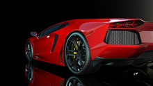 Red Sports Car, Rear End And Taillights Of A Sport Automobile, Race Car Isolated On Black Background, Bottom View, 3D Rendering