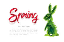 Paper Carve To Green Forest In Bunny Shape And Spring Calligraphy, Paper Art Concept And Ecology Idea