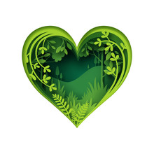 Paper Carve To Green Forest Heart Shape, Paper Art Concept And Ecology Idea
