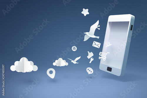 Carta da parati Paper art of mobile phone and application icons, business and communication tech