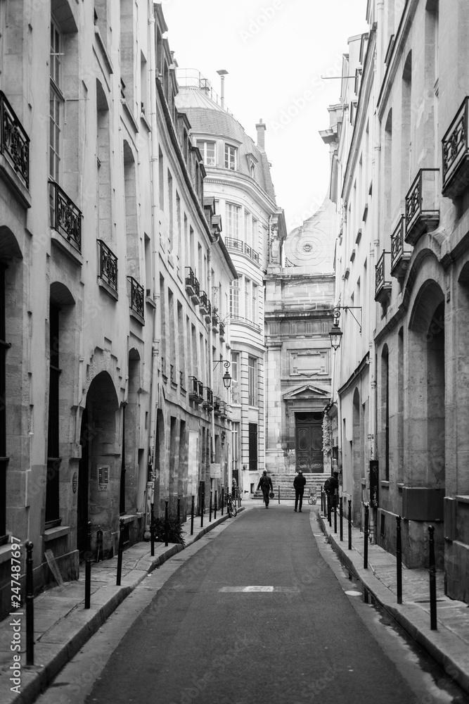 A narrow street in Marais, Paris, France