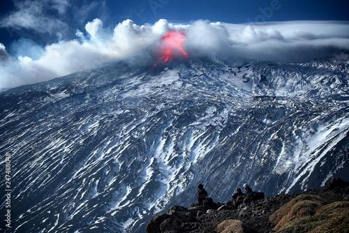 Eruption Winter Etna Volcano Tapéta, Fotótapéta
