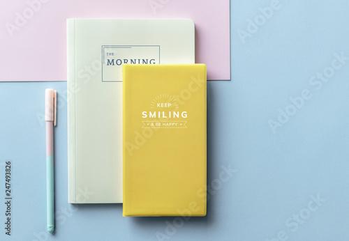 Obraz na plátně  Girly pastel and yellow notebook mockups
