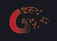 G Letter And Plus Symbol With Broken Effects.