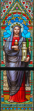 PRAGUE, CZECH REPUBLIC - OCTOBER 17, 2018: The St. Barbara On The Stained Glass In Church Svatého Cyrila Metodeje Designed By Josef Mocker (end Of 19. Cent.).