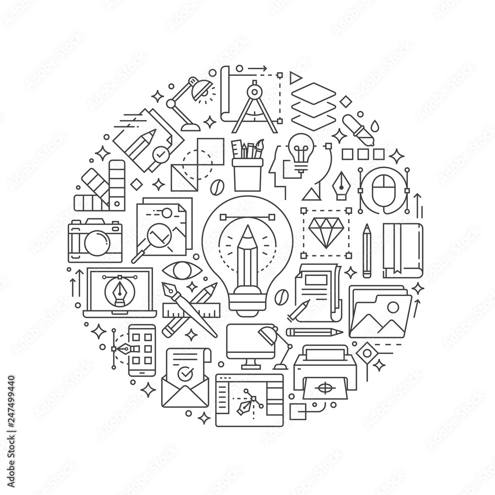 Fototapety, obrazy: Graphic design concept in thin flat illustration. Creative process line icons in round shape isolated vector illustration. Round design element with graphic design icons - Vector