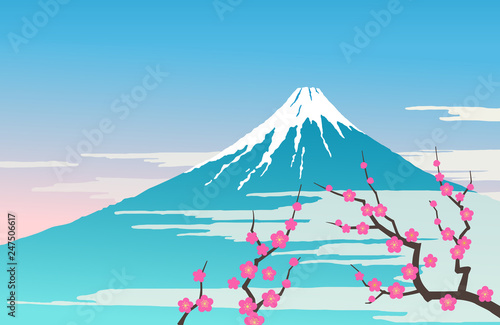 Valokuva Mount Fuji and plum tree