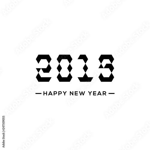 Fotografia  Happy New Year 2019 Triangle Text Design Illustration