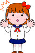 A bob cut female student in a sailor suit expressing emotion