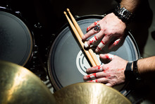 Hands Of A Musician With Drums...