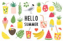 Big Set Of Summer Items. Summertime Card. Pineapples, Banana, Watermelon, Lemonade. Tropical Leaves Vector Illustration. Isolated.