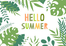 Summer Frame With Green Tropical Leaves