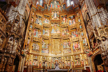 Masterpiece Ancient Artwork Of The Golden Gothic Style Retable Of The Primate Cathedral Of Saint Mary. Toledo, Spain.