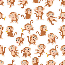 Seamless Pattern With Monkey W...