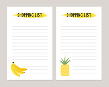 Shopping List Template. Cute Summer Style.