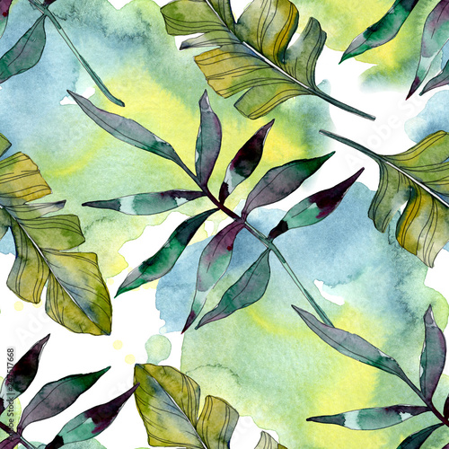 Staande foto Hoogte schaal Green leaf. Exotic tropical hawaiian summer. Watercolor background illustration set. Seamless background pattern.