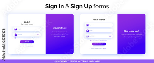 Fotografie, Obraz  Set of Sign Up and Sign In forms. Purple gradient.