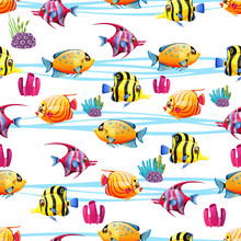 Seamless Pattern With A Various Fish