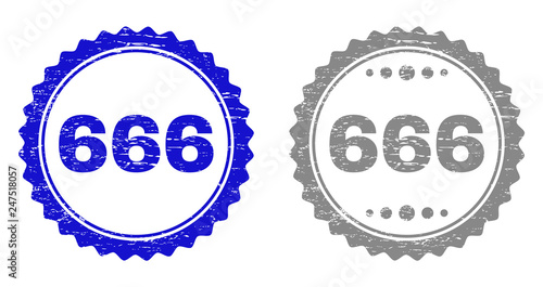 фотография  666 stamp seals with grunge texture in blue and gray colors isolated on white background