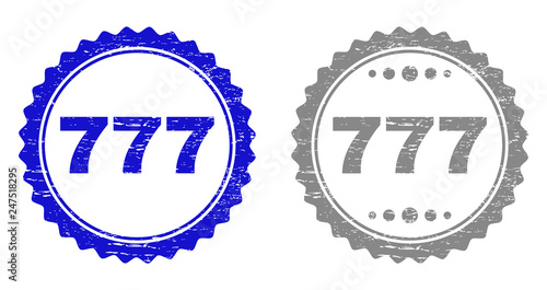 Fotografia  777 stamp seals with distress texture in blue and grey colors isolated on white background