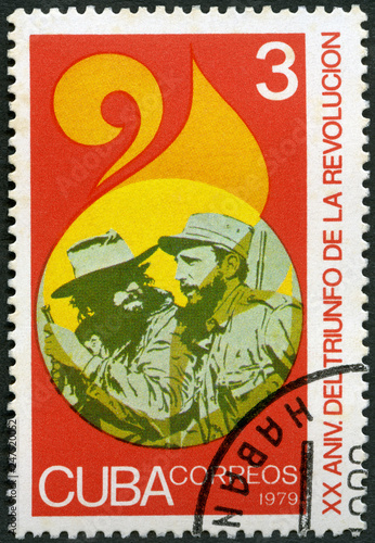 Fotografie, Obraz  CUBA - 1979: shows commander Fidel Alejandro Castro Ruz (1926-2016) and soldier,
