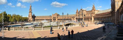 Photo Stands Paris Plaza of Spain in Seville, panorama.