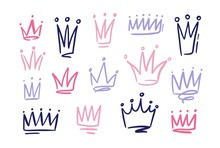 Set Of Drawings Of Doodle Abatract Crowns. Symbols Of Princess Hand Drawn With Pink And Purple Freehand Lines On White Background. Vector Illustration.